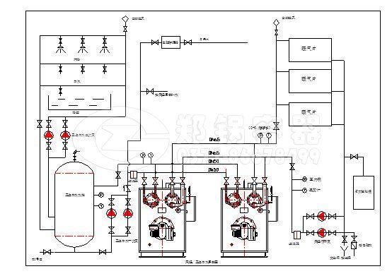 随着民用供热领域对真空锅炉使用范围的加大,到郑锅网站咨询真空锅炉的用户逐渐增多,除了真空锅炉价格、性能外,真空锅炉安装也成了用户关心的问题,本文主要分析真空锅炉安装系统图纸的内容。 和传统的工业锅炉安装不同的是,真空锅炉安装不需要资质,真空机组采用内置热交换器,系统上无须配备水处理、换热器等外部设备,只需接通外部管路即可使用,安装要求及费用大大降低。 并联双回路系统(闭式水箱):  并联双回路系统(开式水箱):  单台双回路系统(开式水箱):  文章来源:真空锅炉 http://www.